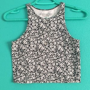 Black and white floral aeropostale crop top